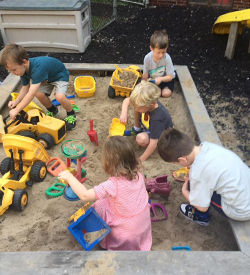 Outside Play Area with Sandbox at Riverside Presbyterian Church Preschool in Riverside, Illinois