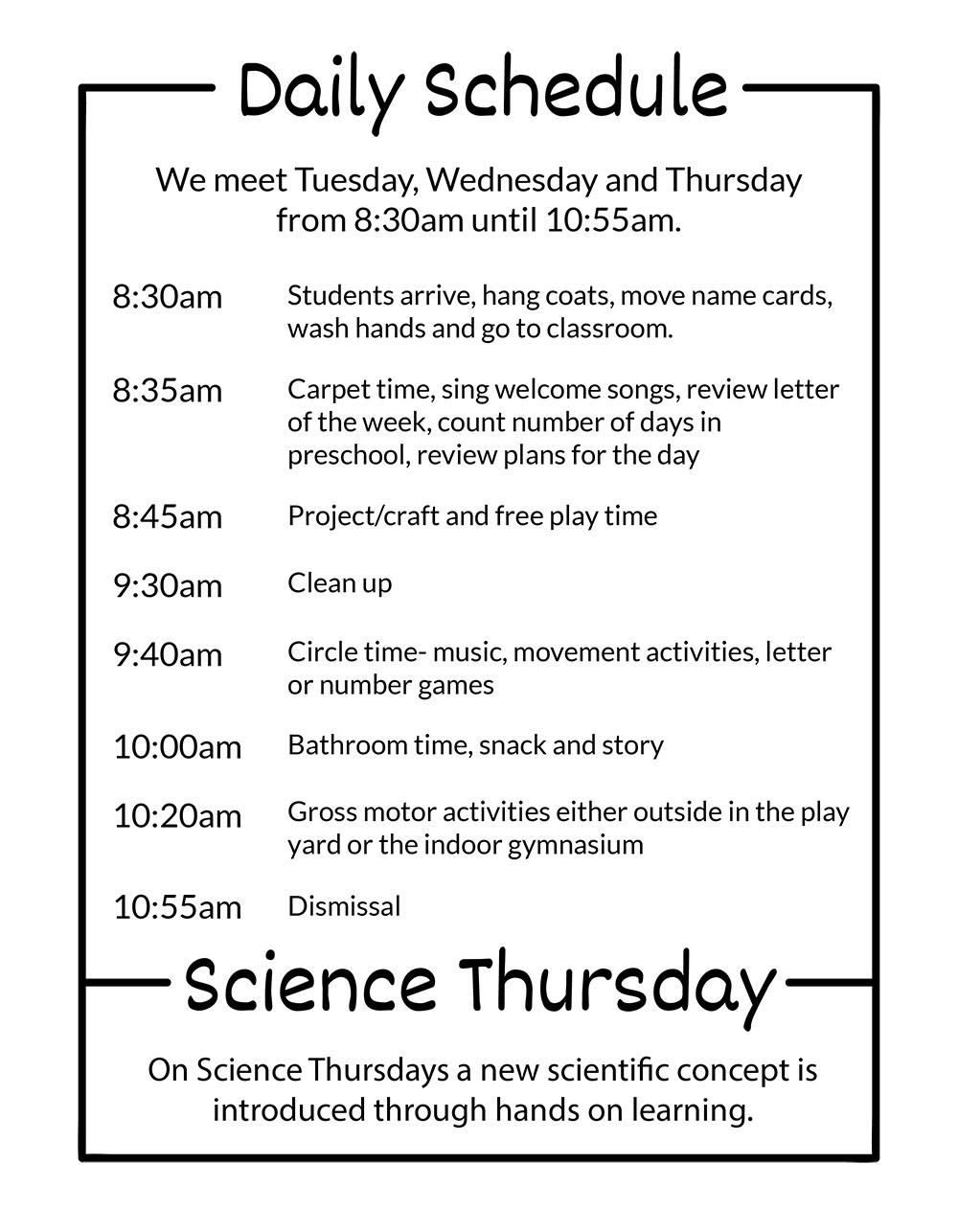 RPC Preschool in Riverside, Illinois Daily Schedule